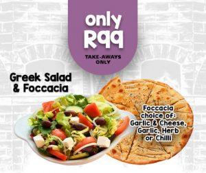 Lucys Pizza Specials salad & foccacia